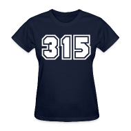 T-Shirts ~ Women's T-Shirt ~ Area Code 315 Shirt by New York Old School