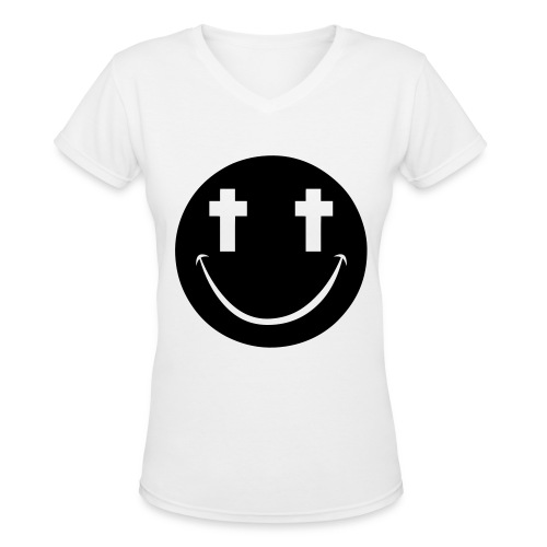 [2NE1] Minzy Smiley Face - Women's V-Neck T-Shirt