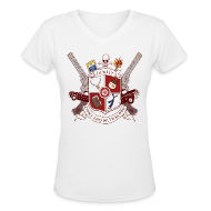 Women's T-Shirts ~ Women's V-Neck T-Shirt ~ Family Don't End With Blood crest