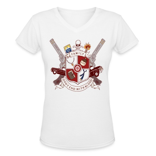 Family Don't End With Blood crest - Women's V-Neck T-Shirt