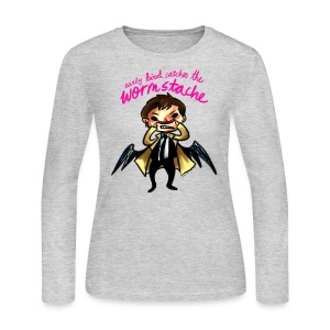 Early Bird Catches the Wormstache (DESIGN BY KARINA) - Women's Long Sleeve Jersey T-Shirt