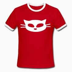 unique white cat mask vector graphic art Men's Ringer T-Shirt by American Apparel