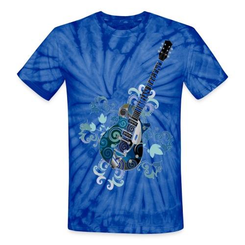 Urban Legend Tie-Dye Grunge Guitar with Logo on Neck of Guitar - Unisex Tie Dye T-Shirt