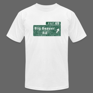 Distressed Big Beaver Exit 69 - Men's T-Shirt by American Apparel