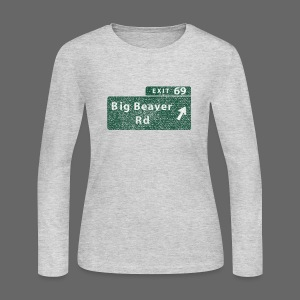 Distressed Big Beaver Exit 69 - Women's Long Sleeve Jersey T-Shirt
