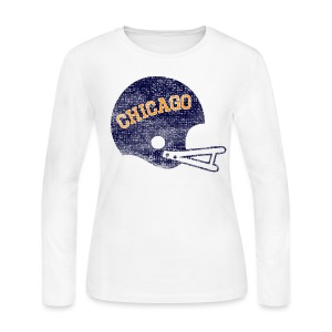 Vintage Chicago Football Helmet - Women's Long Sleeve Jersey T-Shirt