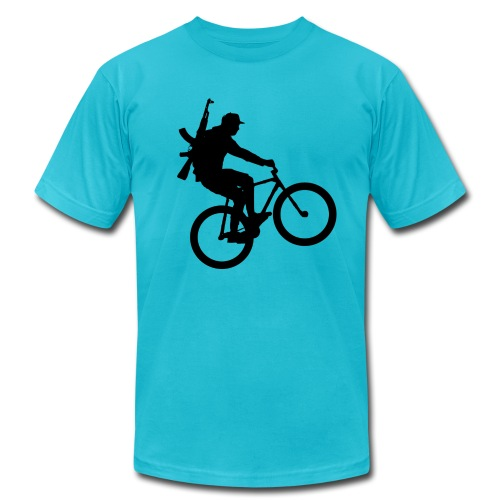 Biker with AK47 - Men's Fine Jersey T-Shirt