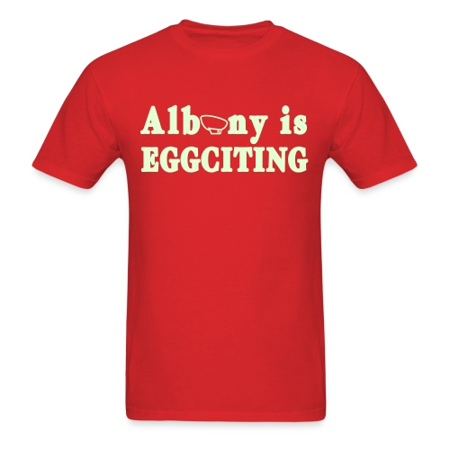 Glow in the dark Albany is Eggciting Shirt by New York Old School - Men's T-Shirt
