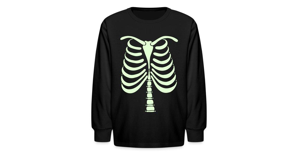 9192d40c maboles: Art & Design | Skeleton Bones Glow in the Dark Kids Long Sleeve T- Shirt - Kids Long Sleeve T-Shirt