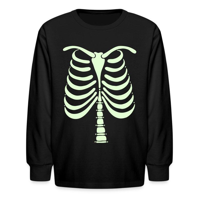 Skeleton Bones Glow In The Dark Kids Long Sleeve T Shirt