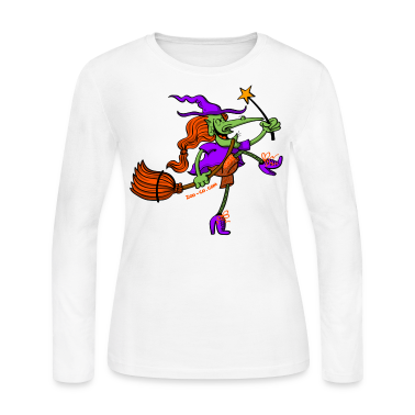 Crazy Witch Dancing with her Magic Wand Long Sleeve Shirts
