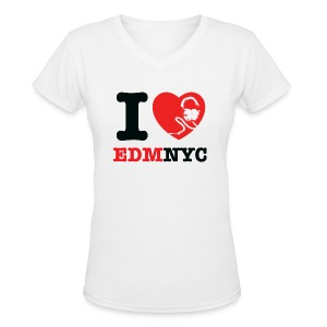 I LOVE EDMNYC LADIES V-NECK TEE - Women's V-Neck T-Shirt