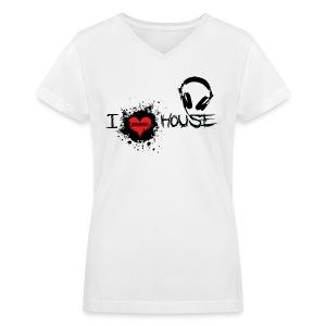 I LOVE HOUSE LADIES V-NECK TEE - Women's V-Neck T-Shirt