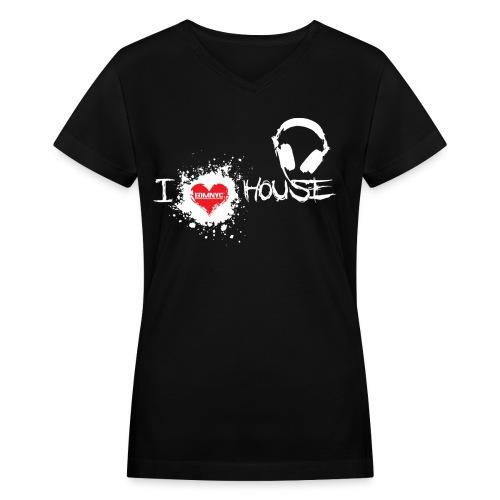 I LOVE HOUSE LADIES DARK V-NECK TEE - Women's V-Neck T-Shirt