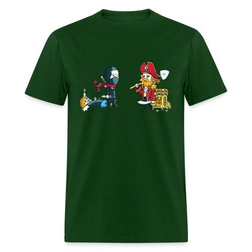 Ninja versus Pirate stare down - Men's T-Shirt