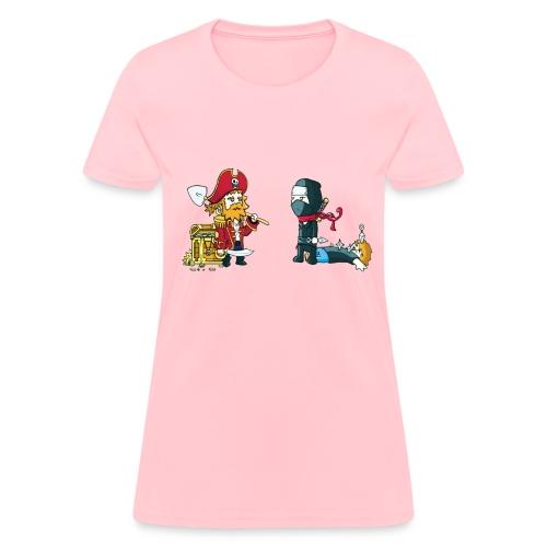 Ninja versus Pirate stare down women - Women's T-Shirt