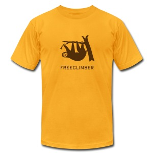 shirt sloth freeclimber climbing freeclimbing boulder rock mountain mountains hiking rocks climber - Men's T-Shirt by American Apparel