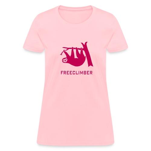 shirt sloth freeclimber climbing freeclimbing boulder rock mountain mountains hiking rocks climber - Women's T-Shirt
