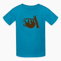 sloth lazy animal forest tree branch freeclimbing  climber Kids' Shirts
