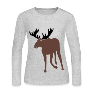 t-shirt stag deer moose elk antler antlers horn horns cervine hart bachelor party hunting hunter - Women's Long Sleeve Jersey T-Shirt