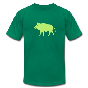 t-shirt wild boar hunter hunting forest animals nature pig rookie shoat - Men's T-Shirt by American Apparel