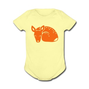 t-shirt fawn kid deer timid cute bambi animal baby - Short Sleeve Baby Bodysuit