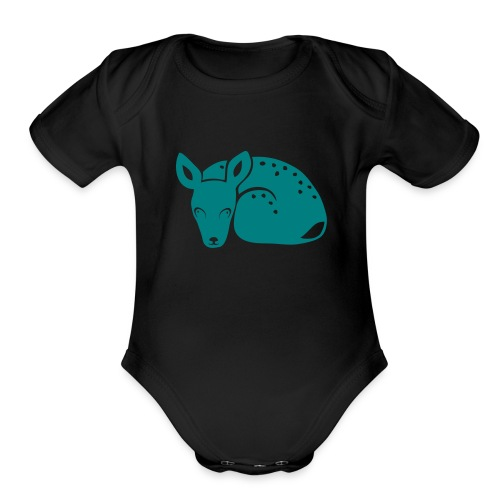 t-shirt fawn kid deer timid cute bambi animal baby - Organic Short Sleeve Baby Bodysuit