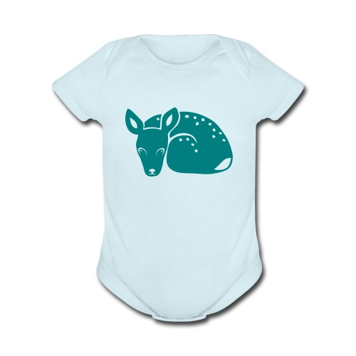 t-shirt fawn kid deer timid cute bambi animal baby - Organic Short Sleeve Baby Bodysuit