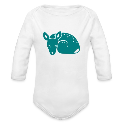 t-shirt fawn kid deer timid cute bambi animal baby - Organic Long Sleeve Baby Bodysuit
