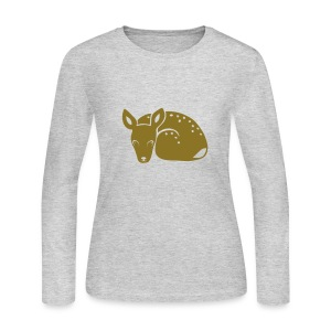t-shirt fawn kid deer timid cute bambi animal baby - Women's Long Sleeve Jersey T-Shirt