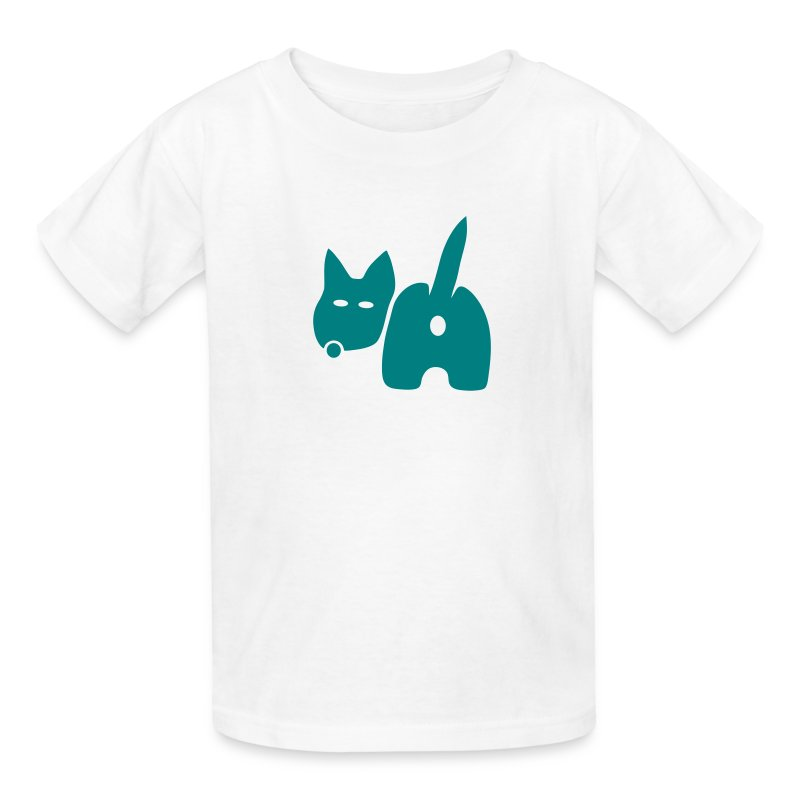 t-shirt dog ass wave tail behind comic petblow dog t-shirt - Kids' T-Shirt