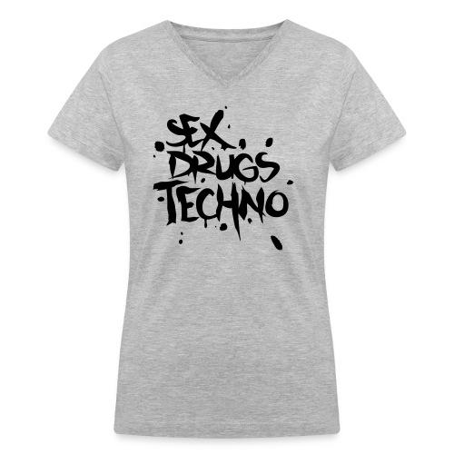 Sex, Drugs, Techno - Women's V-Neck T-Shirt