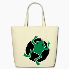 digital frog on a lilypad Bags