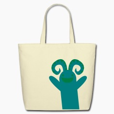 reaching happy green monster Bags