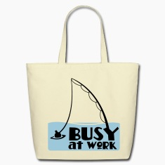 busy at work fishing t-shirt Bags