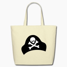crossbones and skull on pirate hat good for Halloween Bags