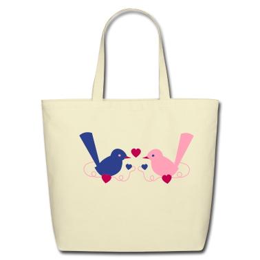 love birds cute vintage on a vine Bags