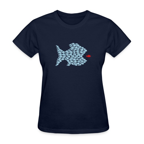 t-shirt fish swarm puffer fish blowfish pregnant hunt hunter ocean hunting fishing - Women's T-Shirt