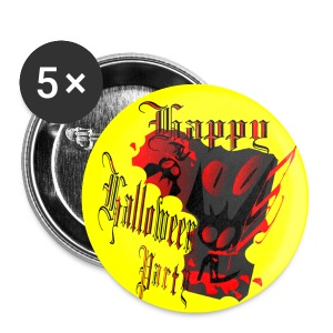 happy halloween txt line art Small Buttons - Small Buttons