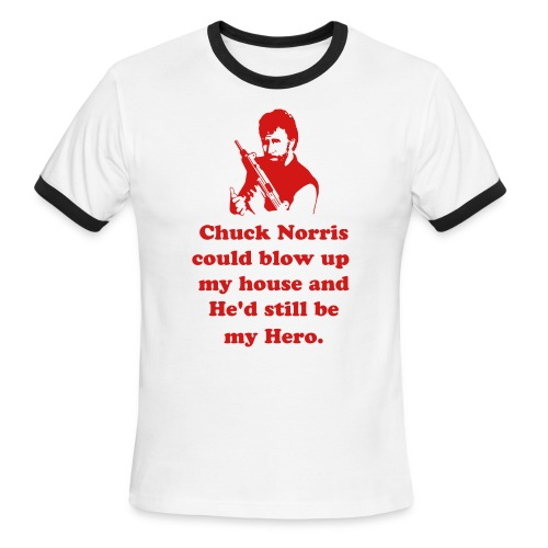 Chuck Norris is my Hero #5 (white with red trim) - Men's Ringer T-Shirt