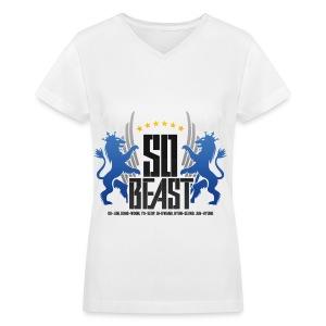 BEAST - SO BEAST (Color/Blue) - Women's V-Neck T-Shirt