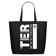 Bags & backpacks ~ Eco-Friendly Cotton Tote ~ Terceira airport code Azores Portugal TER black with barcode tote / beach  bag