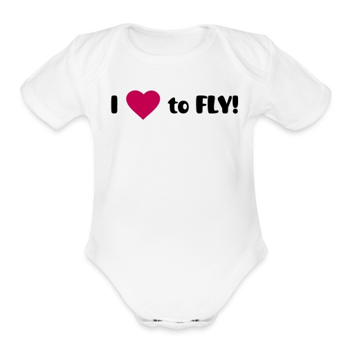 I Heart to FLY! - Organic Short Sleeve Baby Bodysuit