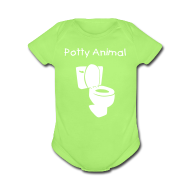 Baby Bodysuits ~ Baby Short Sleeve One Piece ~ Potty Animal