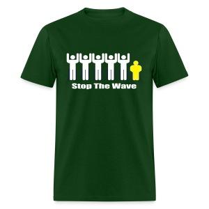 Men's Green/White/Yellow Stop The Wave Logo T-Shirt - Men's T-Shirt
