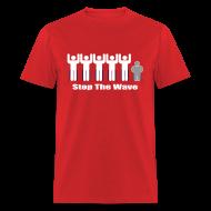 T-Shirts ~ Men's T-Shirt ~ Men's Red/White/Silver Stop The Wave Logo T-Shirt