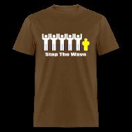 T-Shirts ~ Men's T-Shirt ~ Men's Brown/White/Yellow Stop The Wave Logo T-Shirt