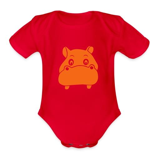 baby one piece hippo hippopotamus river horse afrika - Organic Short Sleeve Baby Bodysuit