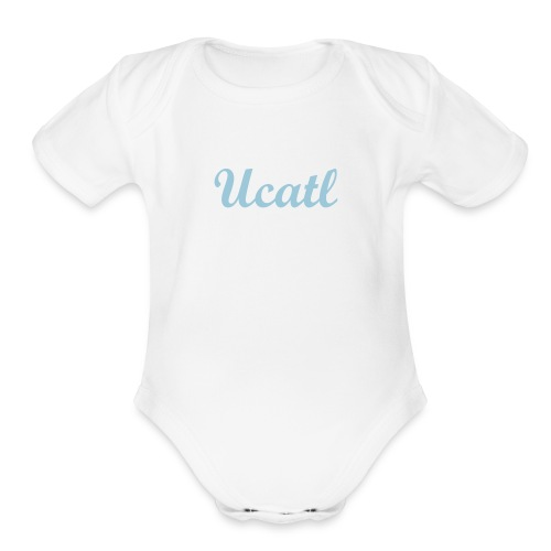 Baby One Piece - Classic Script - Sky Blue - Organic Short Sleeve Baby Bodysuit