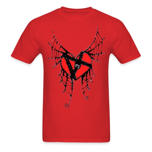webbed winged heart with locket - Men's T-Shirt